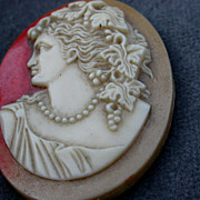 SALE French vintage ceramic cameo for pendant