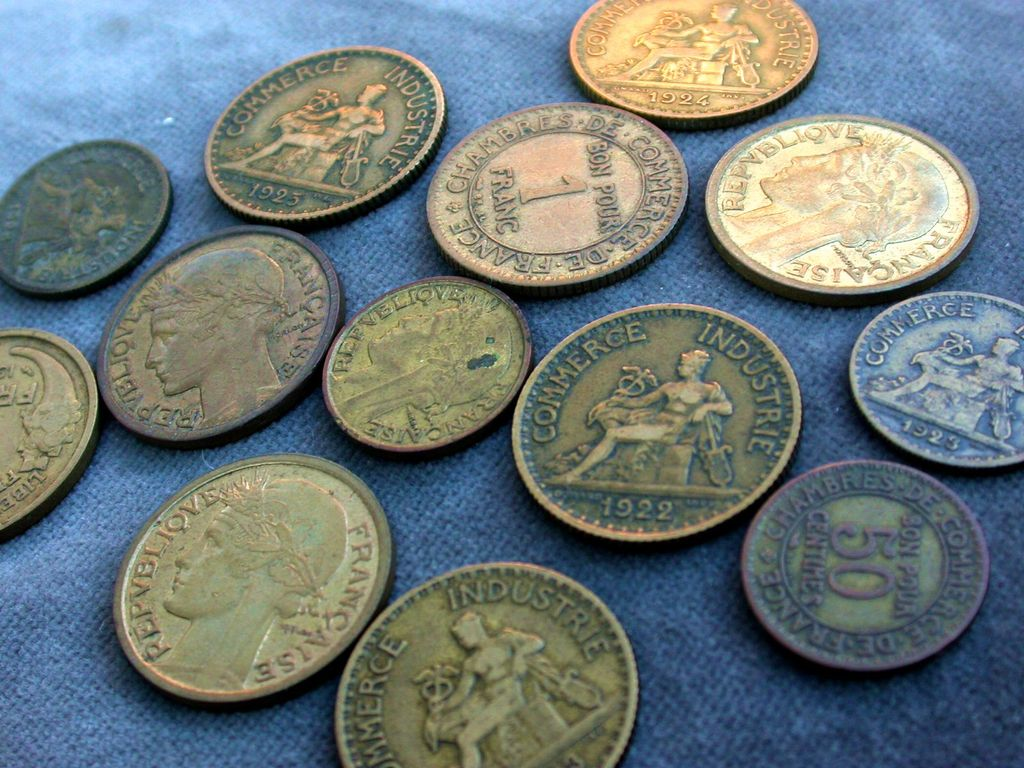 French old coins vintage coins 1922s to 1940s collectible art deco period coins vintage charm