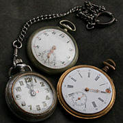SALE French vintage lot of 3pcs  man pocket watch brass silver tone metal pocket watch