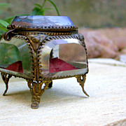SALE French antique art nouveau Beveled Glass and Ormolu Box jewelry box seine  Paris France