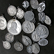 SOLD French vintage lot of 21 religious medals silver tone vintage charms virgin mary our lady
