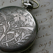SALE French vintage sterling silver pocket watch frame engraved pocket watch pendant vintage p