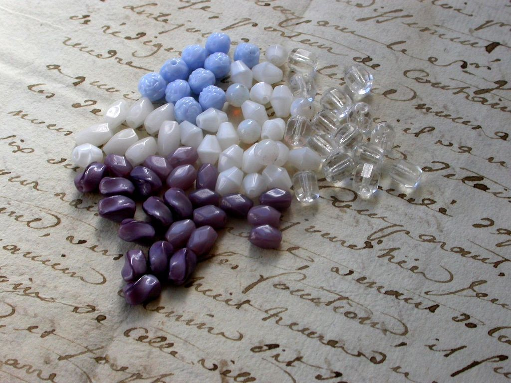Lot 100 french vintage rosary beads lucite bead purple white crystal blue rose twist beads vintage charm