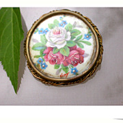SALE Magnificent french large porcelain brooch antique limoge hand painted pendant rose pink b