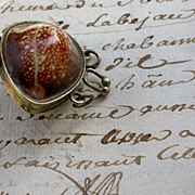 SOLD French vintage shell locket photo holder  miniature box casket pendant