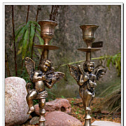 SOLD French vintage pair of angel cherub candle stick solid brass silver plated candle Candela