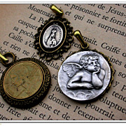 SALE Lot 3pcs antique bronze pendant charms  french vintage coin sterling silver religious mea