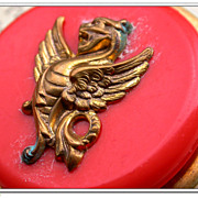 SALE French vintage gold gilt dragon solid brass based brooch red resin art deco