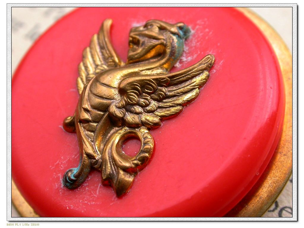 French vintage gold gilt dragon solid brass based brooch red resin art deco