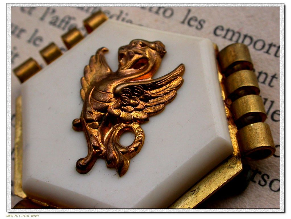 French vintage gold gilt dragon solid brass based brooch white resin art deco
