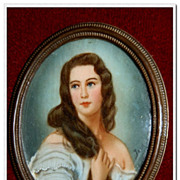 SALE Magnificent french antique Portrait Painting Miniature Hand painted oil on I v o r y - Ci