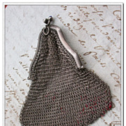 SALE French antique Art Nouveau stamped sterling Silver Mesh Mistletoe Purse jewelry bag coin