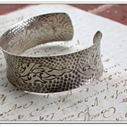 SALE Vintage sterling silver bangle bracelet repousse flower ornate stamped