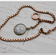 SALE French antique pocket watch chain pink gold gilt brass chain large pocket watch photo ...