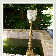 SALE Beautiful antique  gold gilt heavy bronze crystal lamp gold Large lamp desk lamp eagle fo