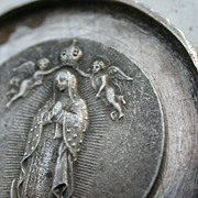 SOLD Huge french antique religious medals virgin mary our lady angel 19th century pendant ster