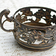 SALE French antique 19th century stamped sterling Silver gold gilt cup holder ornate flower fi
