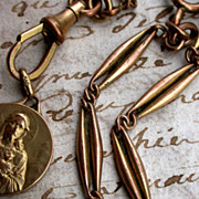 SALE France 19th century french antique pocket watch chain gold vermeil bronze chain pendant .