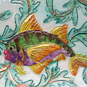 SALE French antique France hand painted Decorative Ceramic signed numbered Fish Vallauris styl