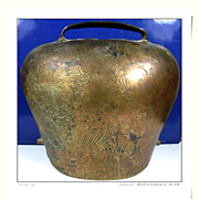 SALE French antique Bronze huge animal bell cow bell large bronze bell home docor