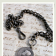 SALE 19th century french antique pocket watch chain black patina heavy metal chain religious .