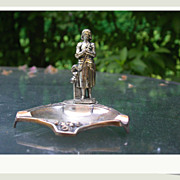 SALE French vintage art deco joan of arc sculpture gold tone brass tray signed numbered sword