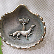 SALE French antique solid bronze silver plated dog crown military brooch flower lys lion royal