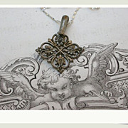 SALE French antique solid bronze silver filigree pendant arrow heart leaf leaves ornate sterli