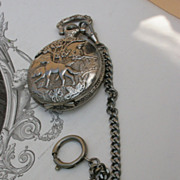 SALE French vintage silver pocket watch chain hunter watch hunting dog hunt ornate quartz