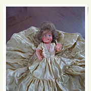 SALE French vintage doll petitcollin green silk dress white lace signed numbered blue eyes red