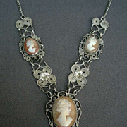 SALE French antique 1910s art nouveau Hand-Carved Shell Cameo Pendant silver filigree necklace