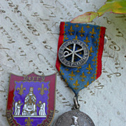 SALE French vintage coat of arm blue enamel religious medals lys flower our lady France Paris