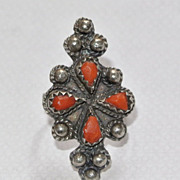 SALE French antique 19th century sterling silver red coral ornate large ring 7.5 stamped silve