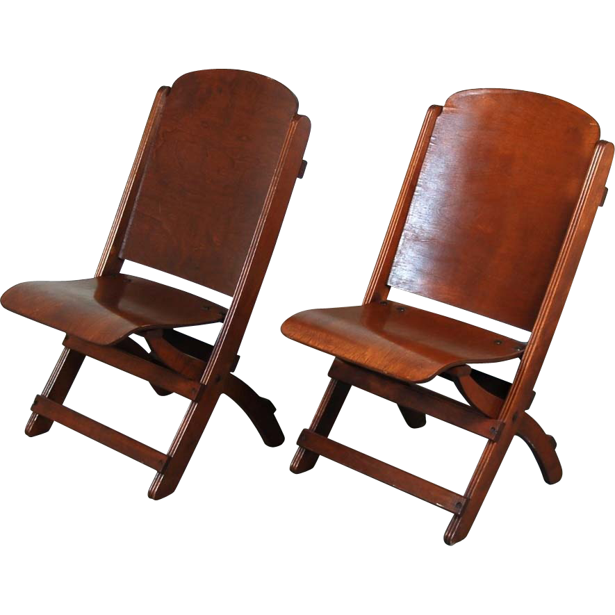 nice pair vintage wooden folding chairs theater seats from