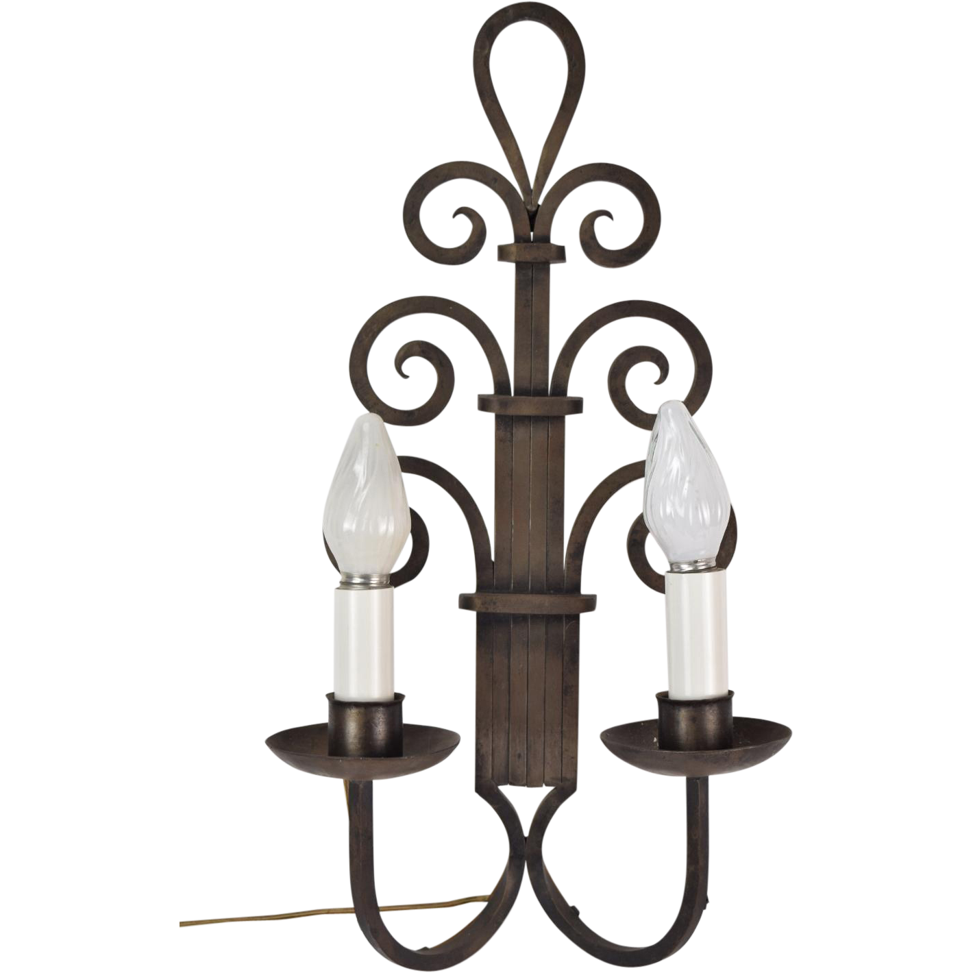 Large Gothic Wall Sconces : Large 1930s Art Deco Gothic Wrought Iron Scroll Wall Sconce Light from colinreedantiques on Ruby ...