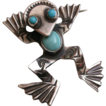 Vintage native American sterling silver and turquoise frog pin with big personality!