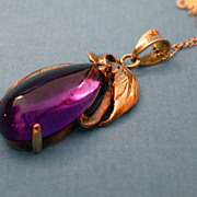 Antique victorian 14K gold amethyst pendant hallmarked