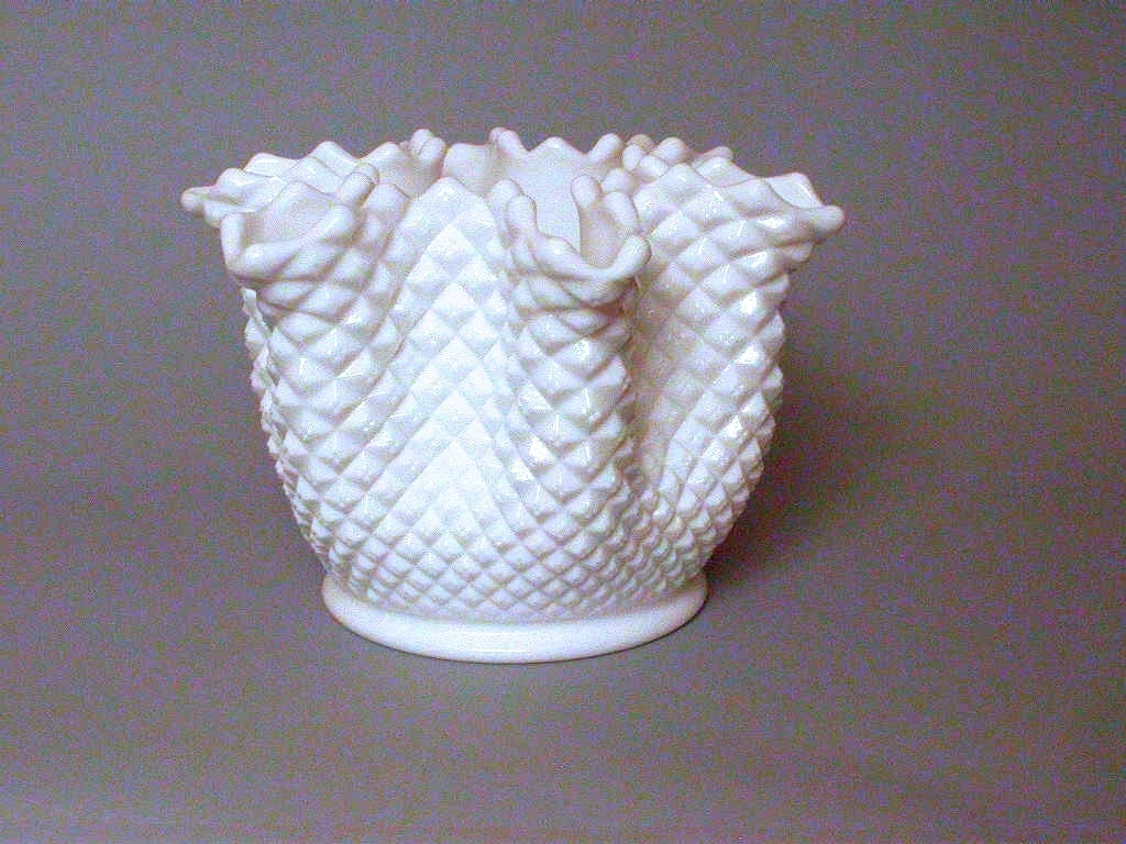 Westmoreland hobnob milk glass handkerchief vase marked