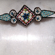 Antique micro mosaic C-clasp brooch