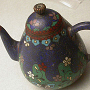 Antique Chinese Cloisonne  Miniature Teapot
