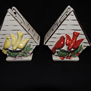 Birdhouse Pottery Wall Pocket Planter PAIR