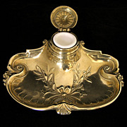 SALE Polished Brass Vintage Inkstand w/ White Porcelain Inkwell