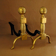 Antique Brass Chippendale Cottage Andiron Pair, c.1900
