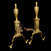 Philadelphia Style Federal Brass Andiron Set, c.1900