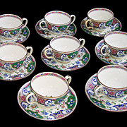 Antique Minton Victorian Chinoiserie Pattern Bullion Set of 8