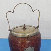 REDUCED English Hardwood Biscuit Jar