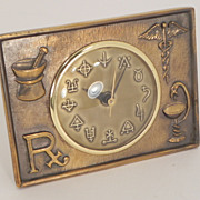 SOLD Brass Electric Medical or Pharmaceutical Desk Clock