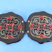 Bakelite Gorgeous Black Scalloped Buckle with Spun Silver Wire & Enamels