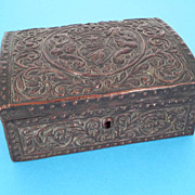 Copper Covered Domed Fleur De Lis & Crown Box - Italian