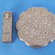 REDUCED Sterling Silver Powder & Lipstick Compact Set